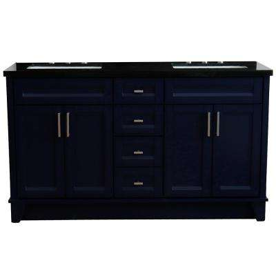 61 in. W x 22 in. D Double Bath Vanity in Blue with Granite Vanity Top in Black Galaxy with White Rectangle Basins