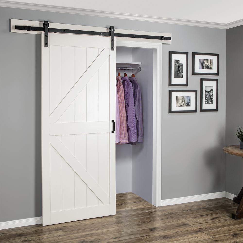 Truporte 36 In X 84 In Off White K Design Solid Core Interior Barn Door With Rustic Hardware Kit Bd052w01wt1wtg36084 The Home Depot