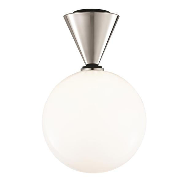 Piper 1-Light Polished Nickel Large LED Flush Mount with Opal Glossy Glass and Black Accents