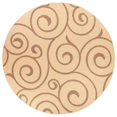 Whirl Cocoa/Natural 9 ft. Round Area Rug