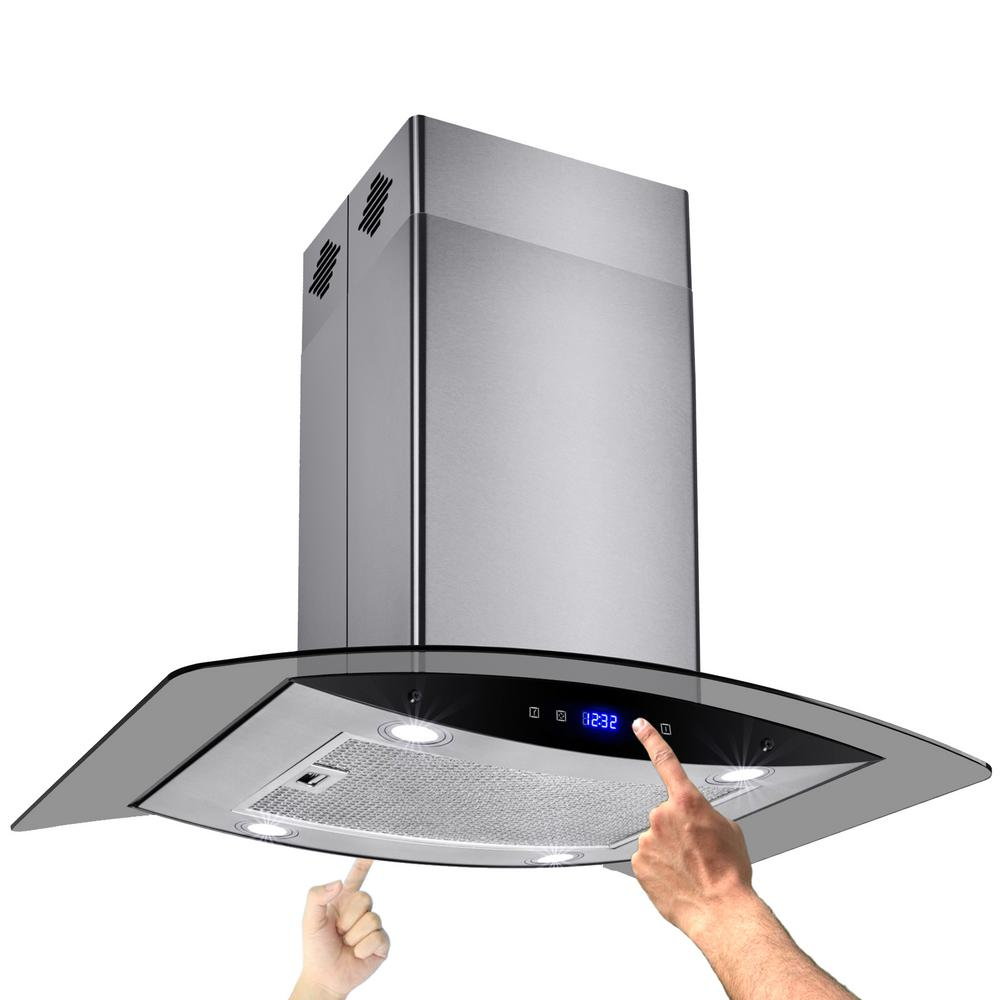 AKDY 30 in. Convertible Kitchen Island Mount Range Hood in Stainless Steel with Tempered Glass and Dual Touch Controls