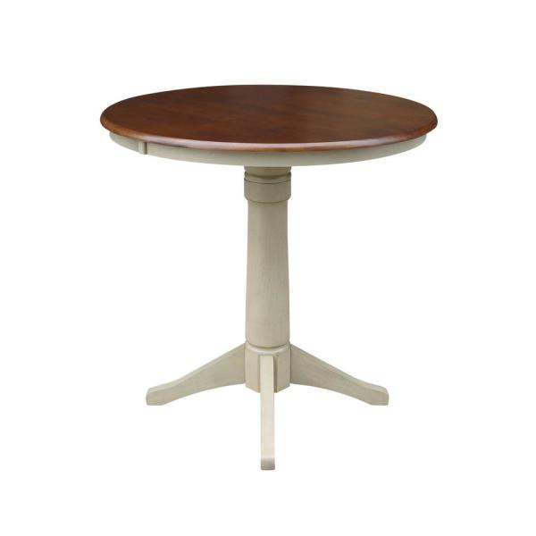 Olivia 36 in. Round Almond and Espresso Counter-Height Table
