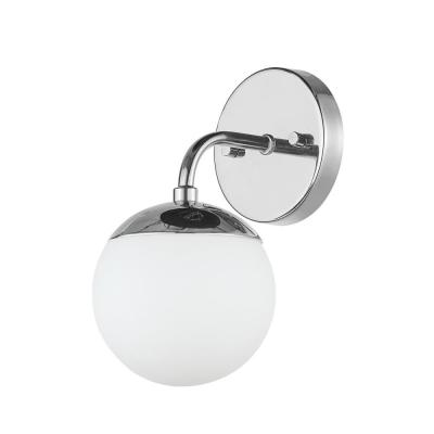 Vega 1-Light Chrome Vanity Light with Frosted Glass Shade