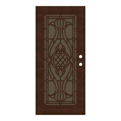 30 in. x 80 in. Manchester Copperclad Left-Hand Surface Mount Security Door with Brown Perforated Metal Screen