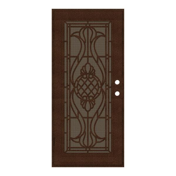 32 in. x 80 in. Manchester Copperclad Left-Hand Surface Mount Security Door with Brown Perforated Metal Screen