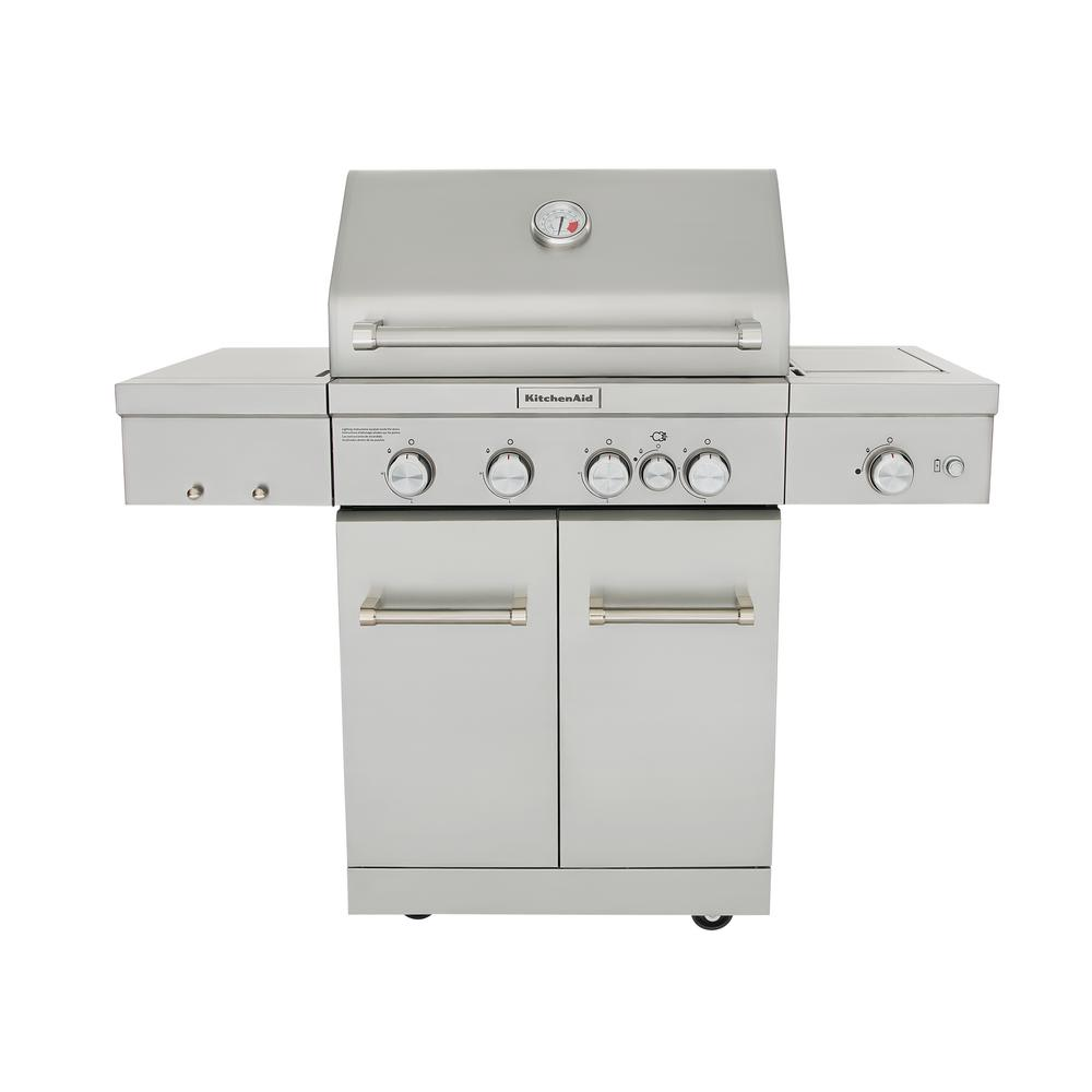Kitchenaid 4 Burner Propane Gas Grill In Stainless Steel With Ceramic Searing Side Burner And Rotisserie Burner