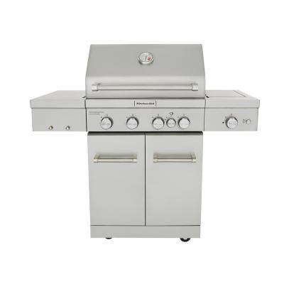 4-Burner Propane Gas Grill in Stainless Steel with Ceramic Searing Side  Burner and Rotisserie Burner