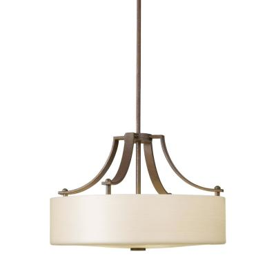 Sunset Drive 3-Light Corinthian Bronze Pendant with Striated Pearl Glass Shade