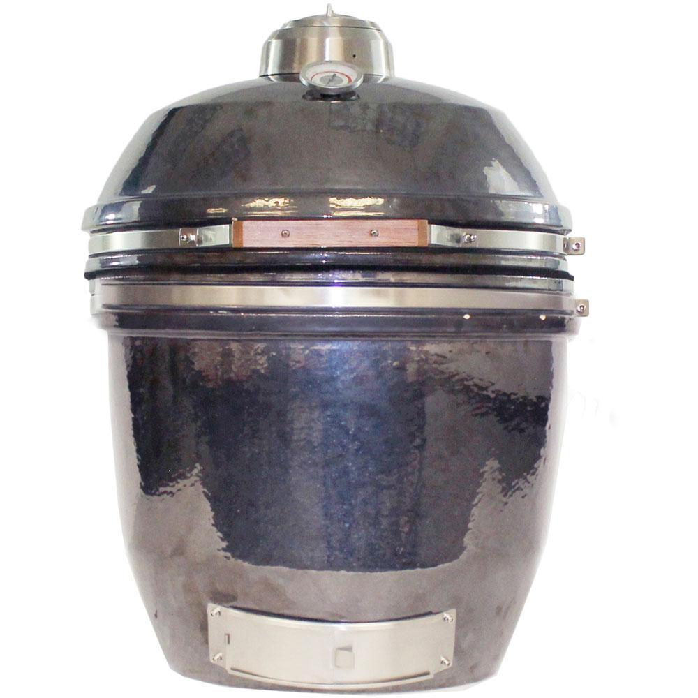 19 in. Ceramic Kamado Grill in Gun Metal