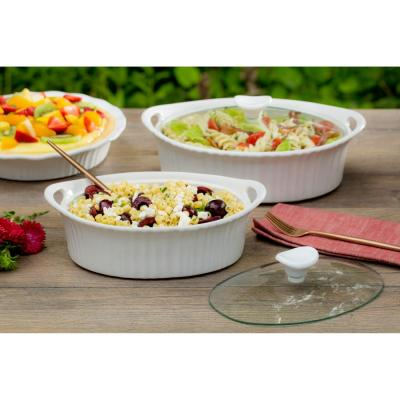 French White 1.5-Qt Oval Ceramic Casserole Dish with Glass Cover