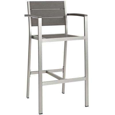 Shore Patio Aluminum Outdoor Bar Stool in Silver Gray