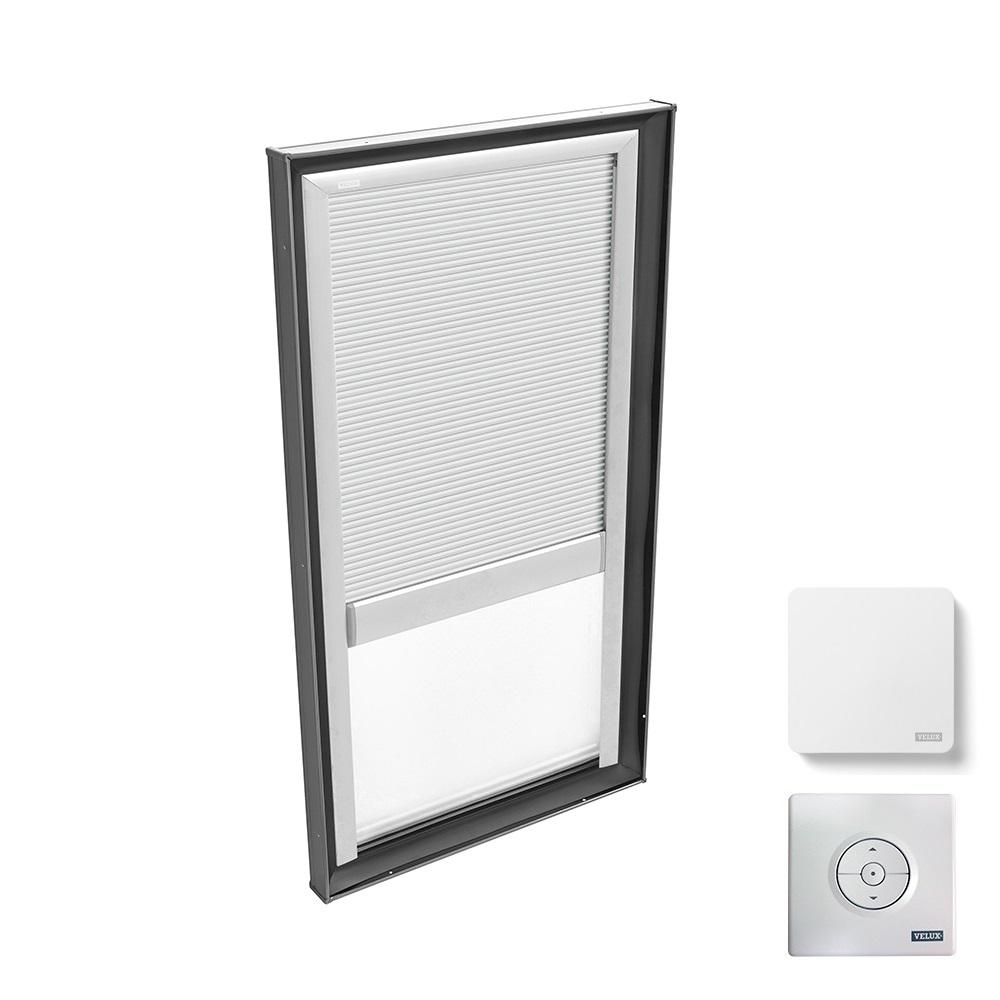 VELUX 22-1/2 in. x 46-1/2 in. Fixed Curb Mount Skylight with Laminated Low-E3 Glass and White Room Darkening Blind