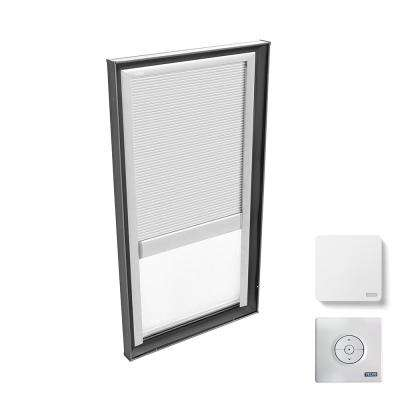 30-1/2 in. x 46-1/2 in. Fixed Curb Mount Skylight with Tempered Low-E3 Glass & White Solar Powered Room Darkening Blind