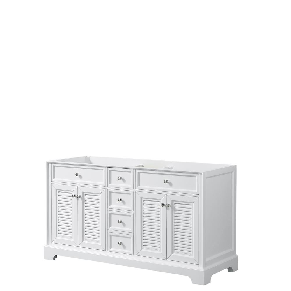 Tamara 60.25 in. Double Bathroom Vanity Cabinet Only in White