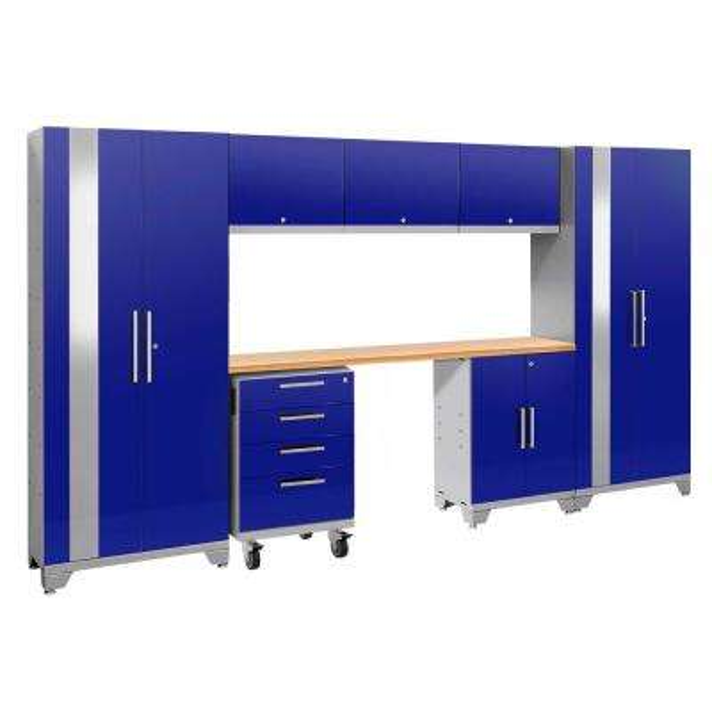 Performance 2.0 77.25 in. H x 132 in. W x 18 in. D 24-Gauge Welded Steel Bamboo Worktop Cabinet Set in Blue (8-Piece)