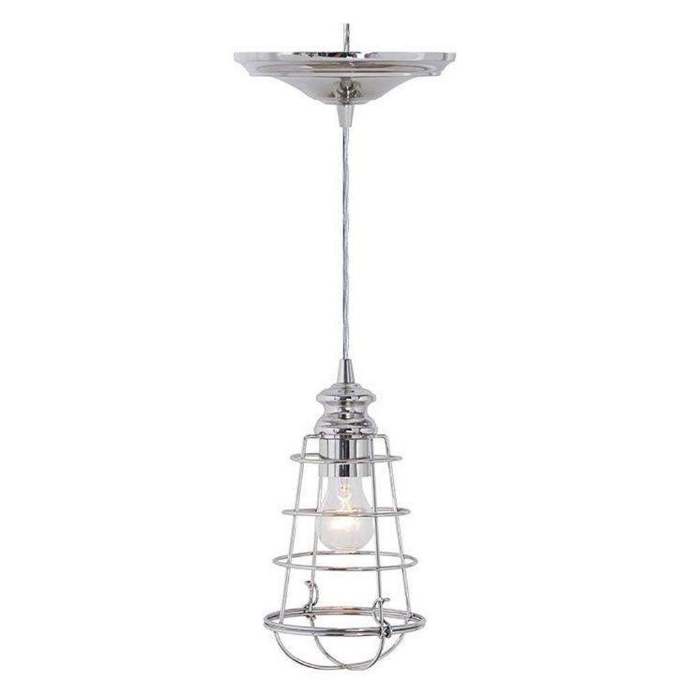 Home Decorators Collection Cage 1-Light Brushed Nickel Pendant with Hardwire