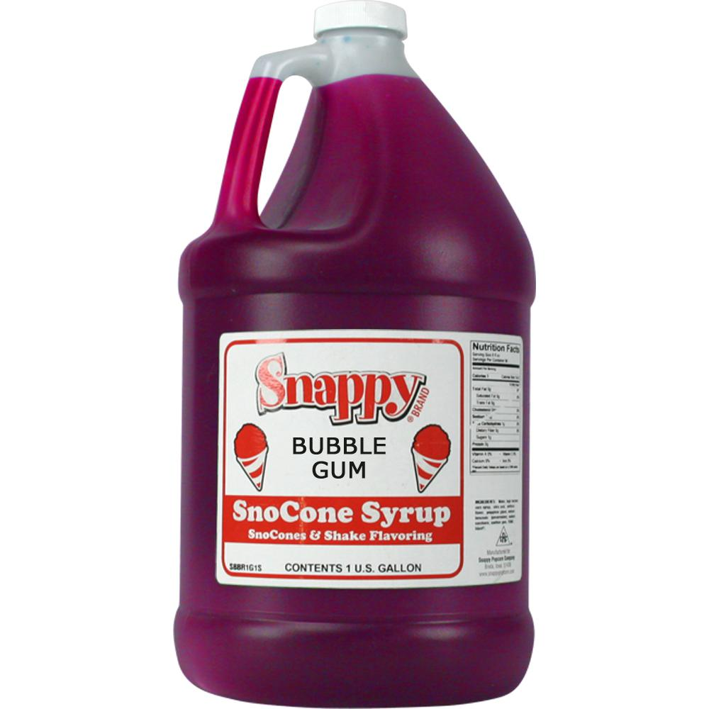 Snappy Snow Cone Syrup. 1 Gal. Bubble Gum