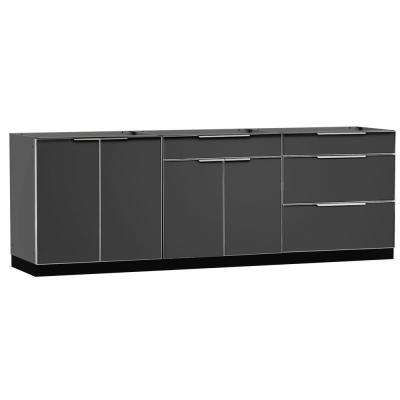 Aluminum Slate 3-Piece 120x360x24 in. Outdoor Kitchen Cabinet Set without Counter Tops