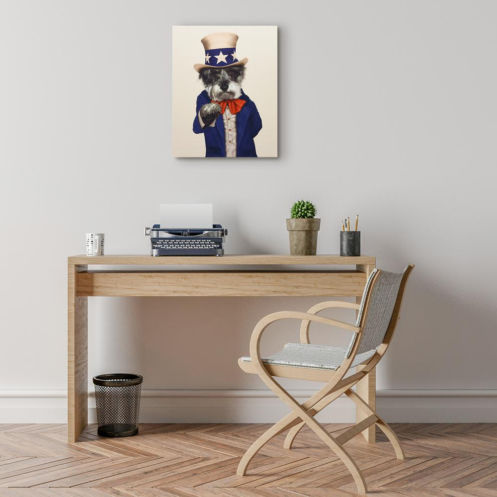 20 in. x 16 in. Pets Rock  Uncle Sam  Graphic Art on Wrapped Canvas Wall Art, Multi Who is that patriotic schnauzer, Decked out in red, white and blue Uncle Sam stands for all the great things about America. Those steely eyes, the rock steady paw. Make this doggie the first in your collection of Pets Rock icons. Join the Pop Culture World of Pets Rock Where Pets meet Celebrity. Color: Multi.