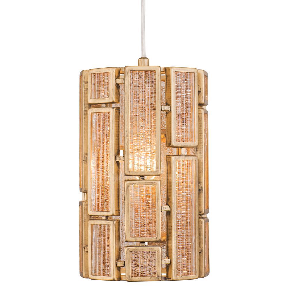 Harlowe 1-Light Havana Gold Mini Pendant with Brown Textured Ice Glass