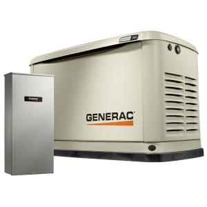 Generac 9,000-Watt (LP)/8,000-Watt (NG) Air Cooled Standby Generator with 16 Circuit 100 Amp Automatic Transfer Switch by Generac