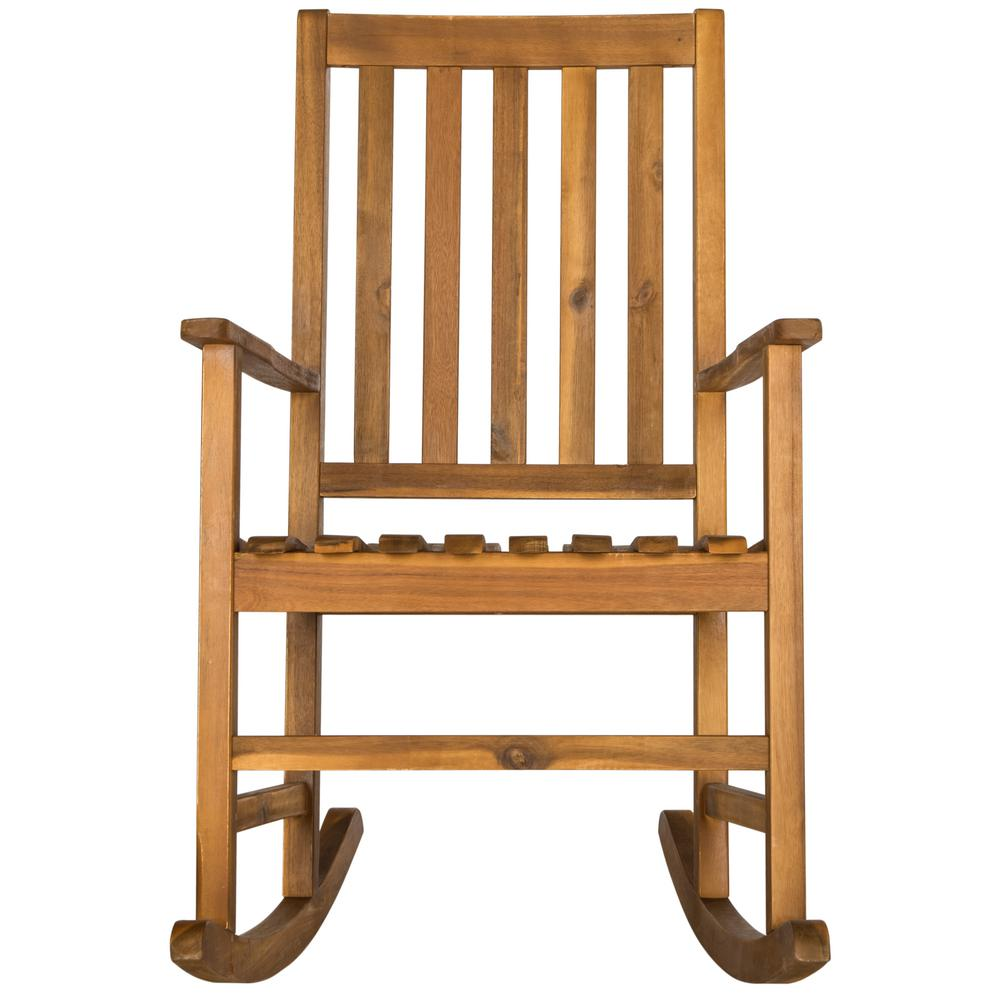 Safavieh Barstow Natural Brown Wood Outdoor Rocking Chair
