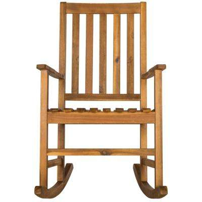 Barstow Natural Brown Wood Outdoor Rocking Chair