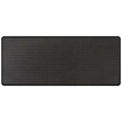 Classic Basketweave Black 20 in. x 48 in. Comfort Kitchen Mat