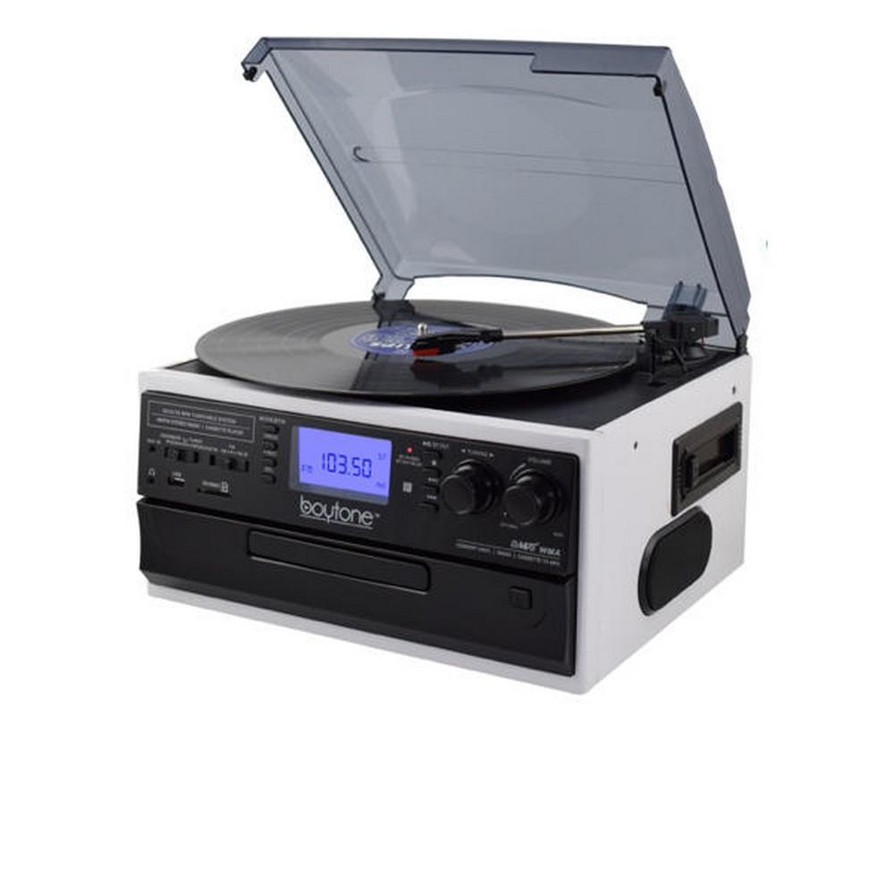 9-in-1 Turntable Stereo System in White