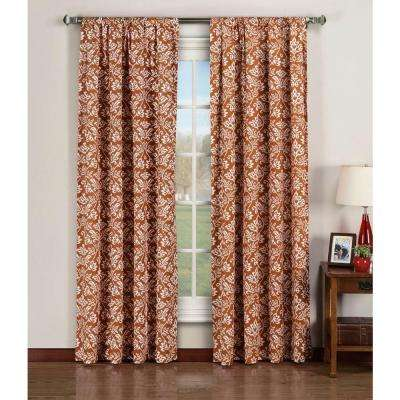 Semi-Opaque Valencia Printed Cotton Extra Wide 96 in. L Rod Pocket Curtain Panel Pair, Rust (Set of 2)