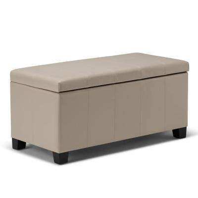 Dover Satin Cream Storage Ottoman Bench