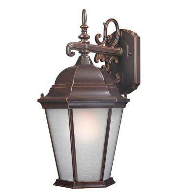 Traditional Wall-Mount 18 in. Outdoor Old Bronze Lantern with White Glass Shade