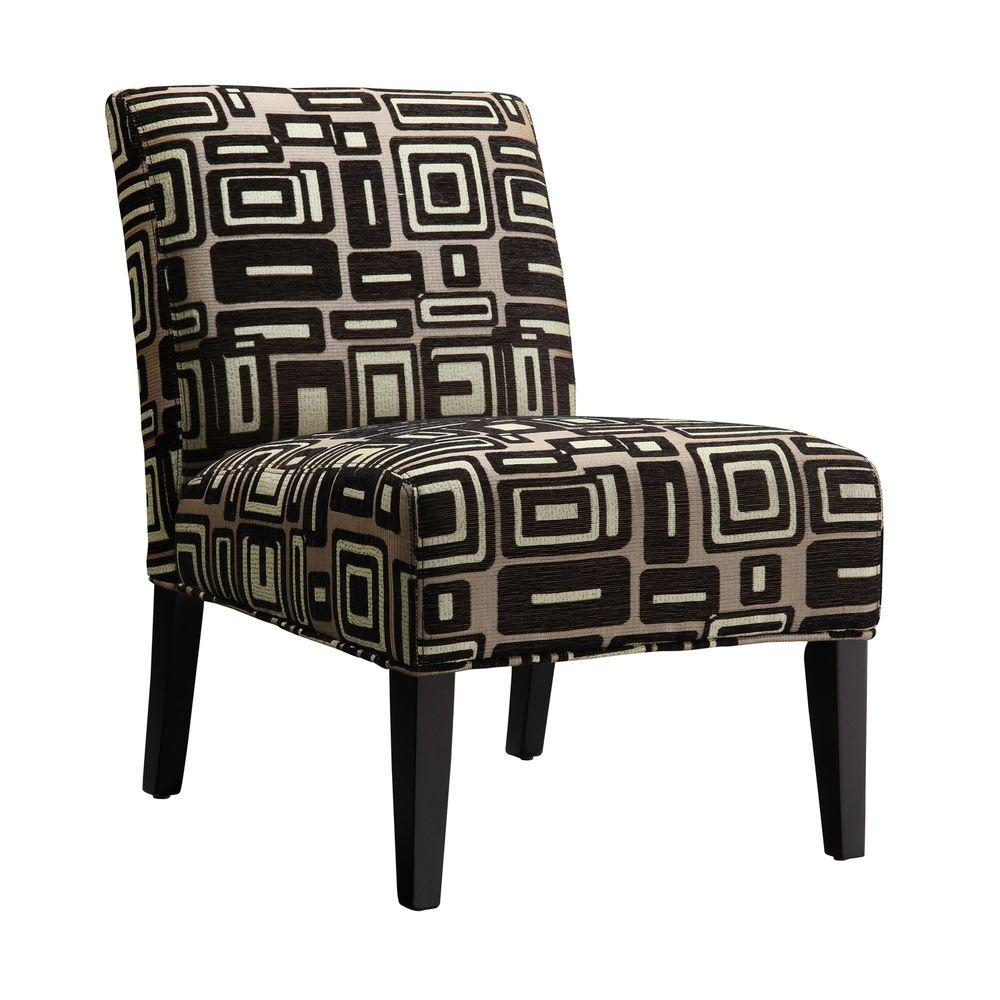 Home Decorators Collection Gray and Black Print Chaise Lounge Chair-DISCONTINUED