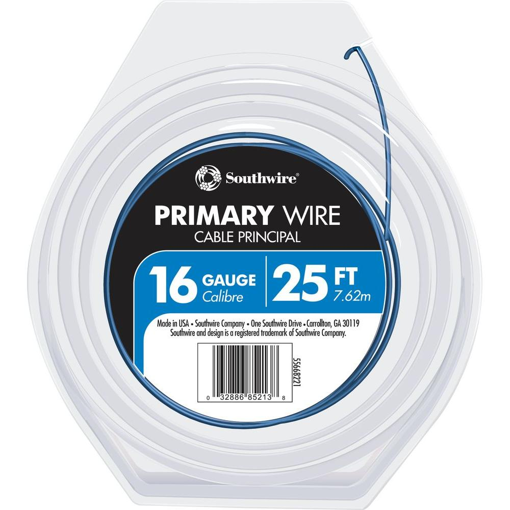 25 ft. 16 Blue Stranded CU Primary Wire