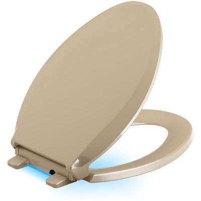 Cachet LED Nightlight Elongated Quiet Closed Front Toilet Seat in Mexican Sand