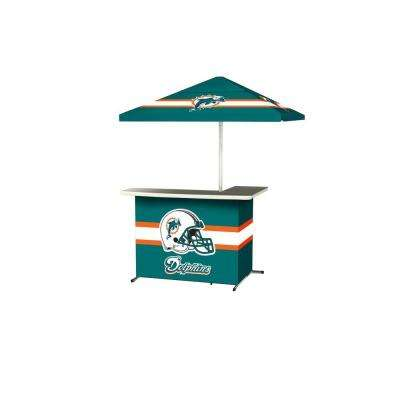 Miami Dolphins All-Weather L-Shaped Patio Bar with 6 ft. Umbrella