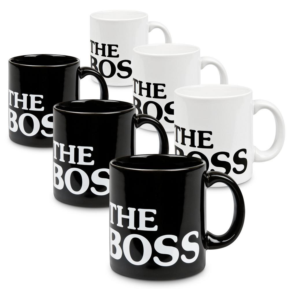 Waechtersbach 6-Piece Assorted the Boss Black and White Ceramic Mug Set