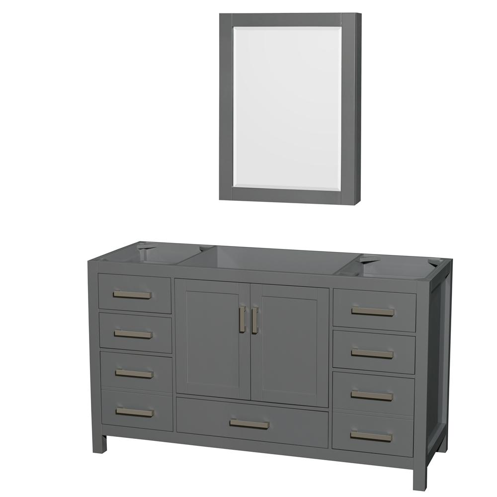 Sheffield 59 in. W x 21.5 in. D Vanity Cabinet Only with Medicine Cabinet in Dark Gray