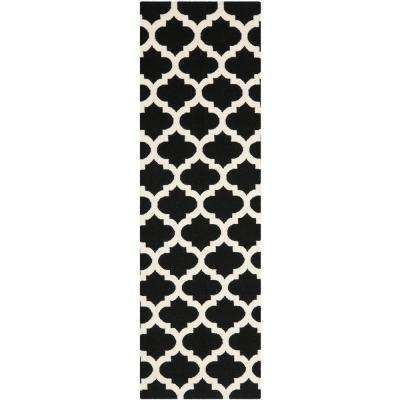 Dhurries Black/Ivory 3 ft. x 7 ft. Runner Rug