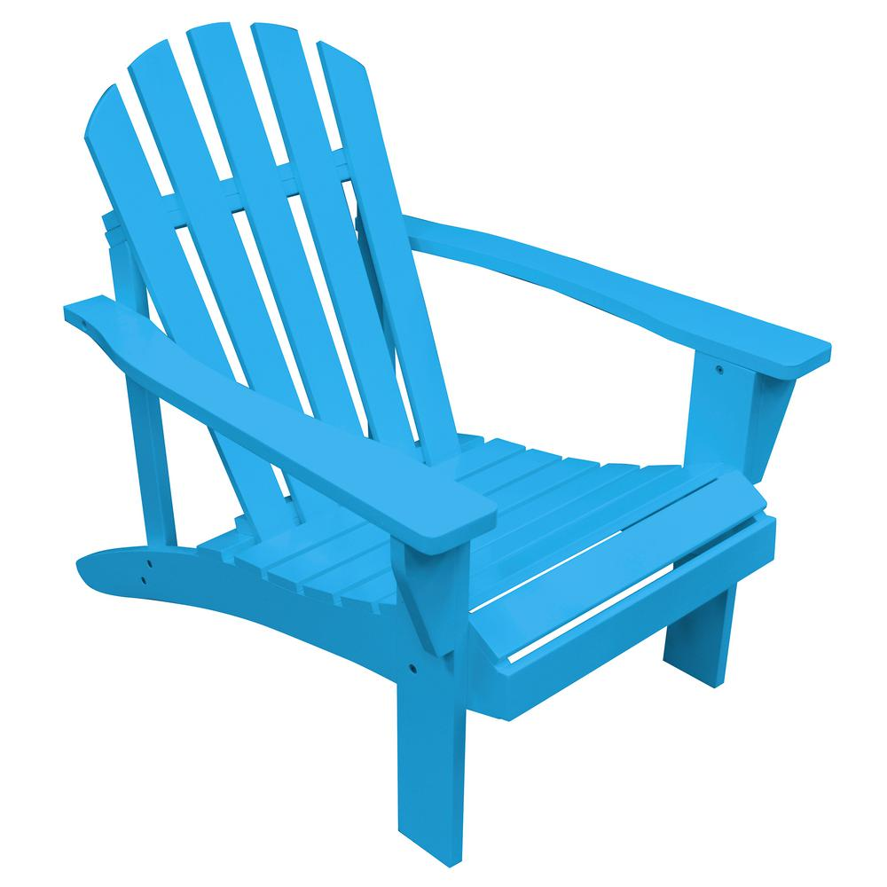 AmeriHome Aruba Blue Reclining Wood Adirondack Chair With Painted 802443    The Home Depot