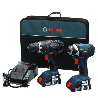 18-Volt Lithium-Ion Cordless 1/2 in. Drill/Driver and 1/4 in. Impact Driver Combo Kit with 2-2.0 Ah Batteries (2-Tool)