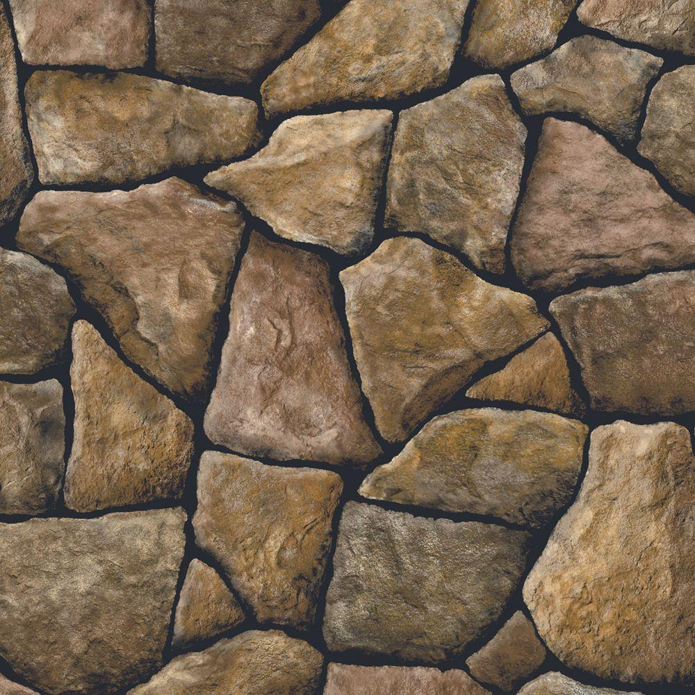 The Wallpaper Company 56 sq. ft. Brown Stone Wallpaper