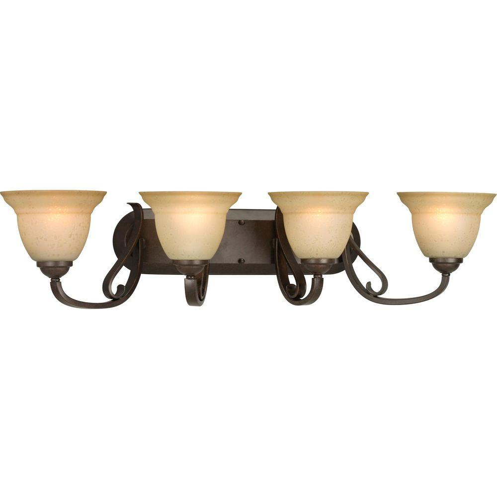 Progress Lighting Torino 4 Light Forged Bronze Bathroom Vanity With Gl Shades