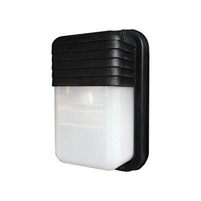 Mesa 1-Light Outdoor Black Bulkhead Wall Lantern with Clear Polycarbonate Shade