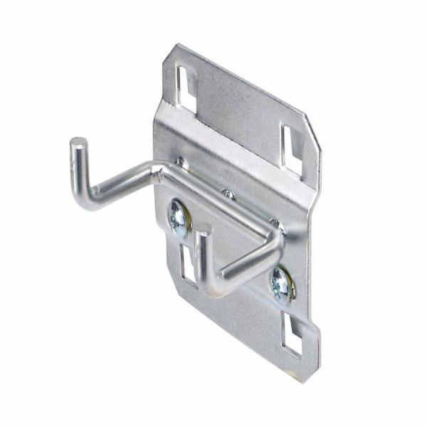 1 in. Double Rod 90 Degree Bend 3/16 in. Dia Zinc Plated Steel Pegboard Hook (5-Pack)