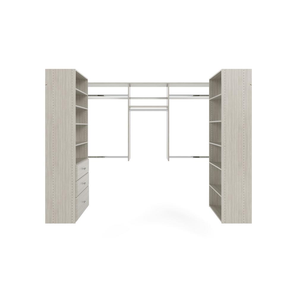 Closet Evolution 60 in. W - 96 in. W Rustic Grey U-Shaped Wood Closet System