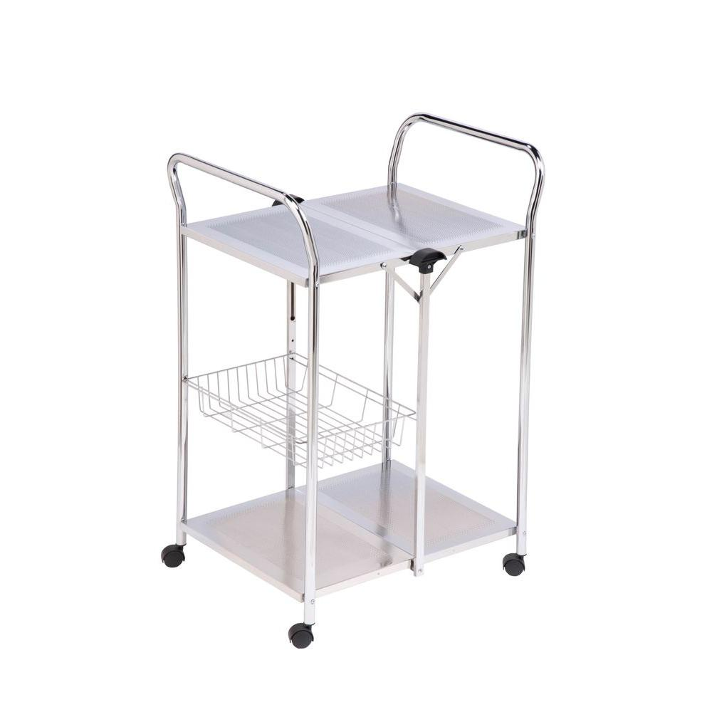 Honey-Can-Do 2-Tier Steel Rolling Deluxe Foldable Push Cart in Chrome