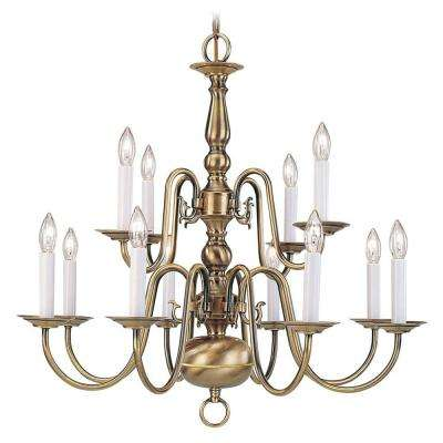 Brass candle style chandeliers lighting the home depot providence 12 light antique brass chandelier aloadofball Choice Image