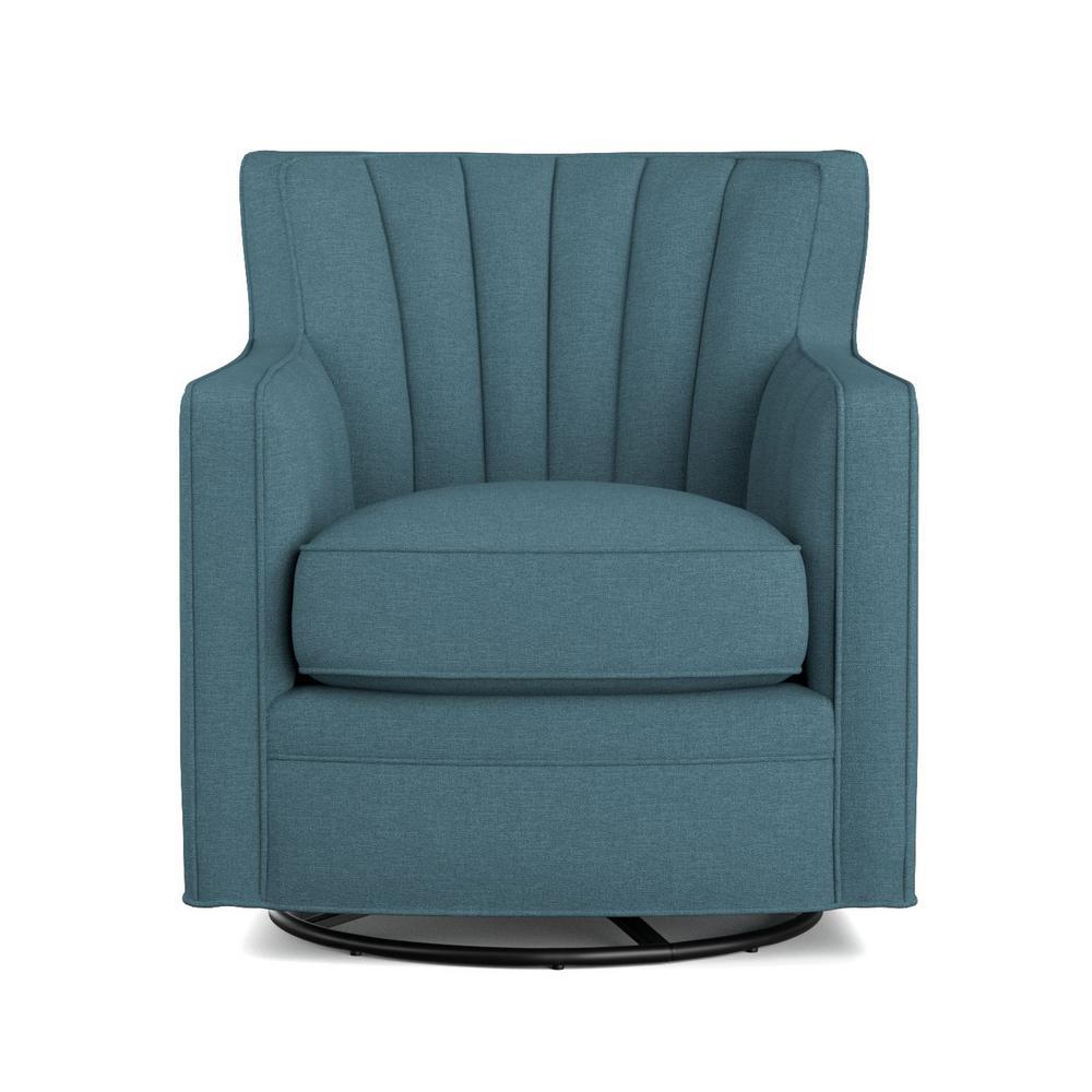 Zahara Blue Linen Swivel Arm Chair