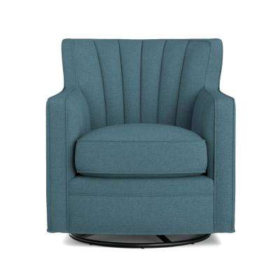 Zahara Blue Linen Swivel Arm Chair